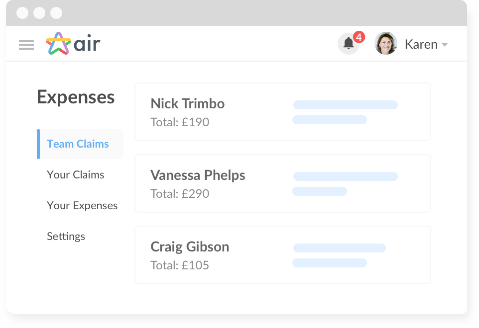 Air HR software expense reporting, management, approval